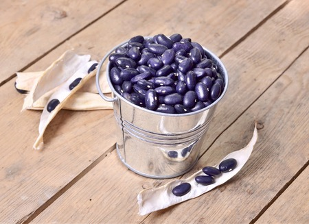 metal bucket  full of black small beans  photo