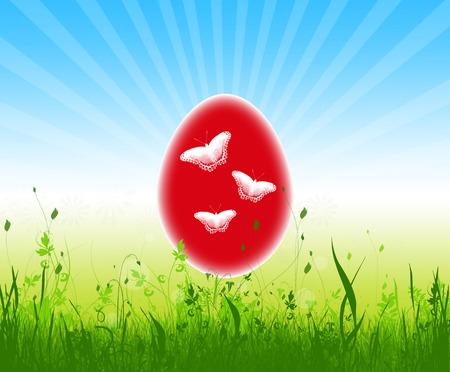 Easter egg colorful  in the grass on blue sky ,illustration Stock Illustration - 27306182