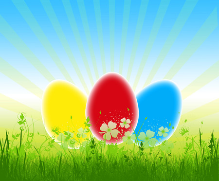 Three colorful easter eggs in the grass on blue sky ,illustration Stock Illustration - 27306183