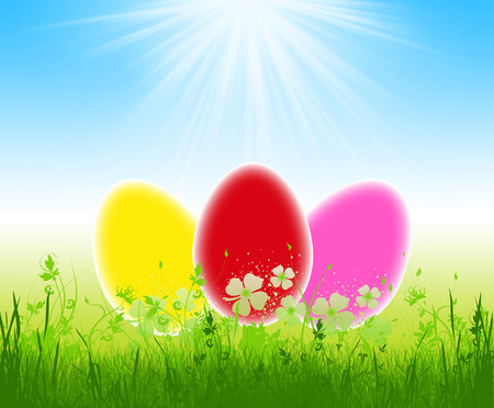Three colorful easter eggs in the grass on blue sky ,illustration Stock Illustration - 27306185