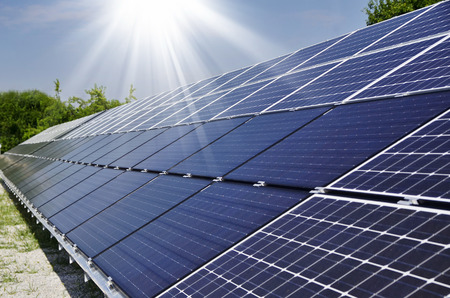 modules: photovoltaic solar modules for producing electricity  Stock Photo