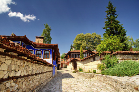 A traditional old house in Koprivshtitsa, Bulgaria, . Koprivshtitsa is one of the hundred tourist places of the Bulgarian Tourist Union  Editorial