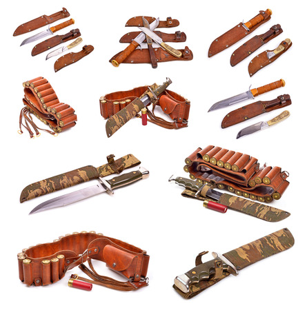 hunting accessories old leather bandolier, old hunting knife ,on a white background Stock Photo