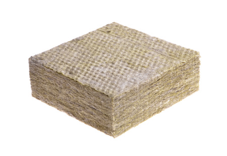 Thermal insulation  -mineral wool  isolated on white background  photo