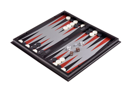 backgammon: Leisure: board games backgammon with chips and dice isolated over white