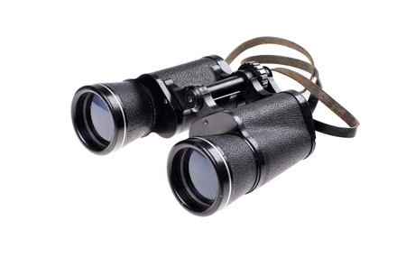 antique binoculars: Old vintage binoculars on a white background Stock Photo