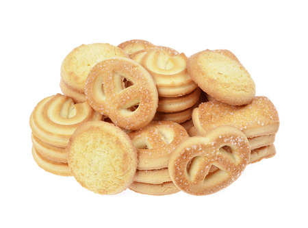 postres: Galletas de mantequilla, galletas caseras, aislados en un fondo blanco