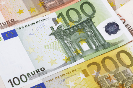 european union currency: Background from a lot of  banknotes. European Union Currency.