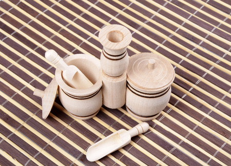 salt shaker: Double wooden salt shaker with spoons and lids