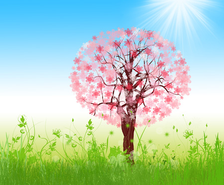 transparently: Spring landscape with blooming tree on blue sky illustration Stock Photo