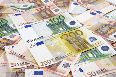 european union currency: Background from a lot of euro banknotes. European Union Currency.