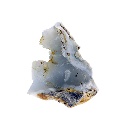 chalcedony: Single rough natural blue chalcedony rock isolated on white background