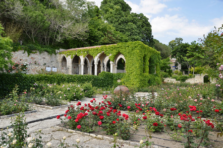 unique characteristics: Roman bath   in the yard of Balchik palace , Bulgaria,ruins Stock Photo