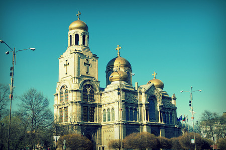assumption: The Assumption Cathedral of Modern Byzantine style with golden domes Varna Bulgaria