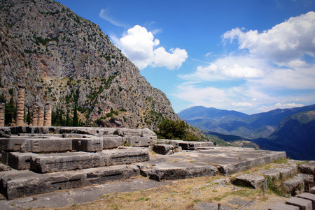 delfi: The ruins in the archaeological site of Delphi in Greece
