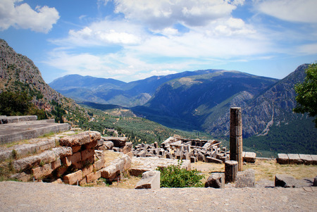 delphi: The ruins in the archaeological site of Delphi in Greece