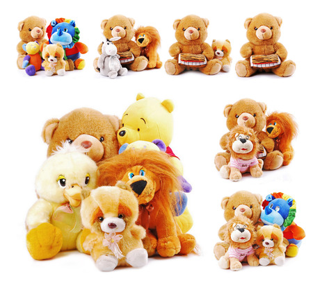 Stuffed animal toys  isolated on a white background