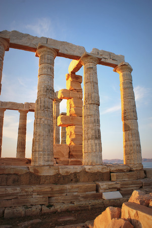 poseidon: Greece. Cape Sounion - Ruins of an ancient Greek temple of Poseidon before sunset
