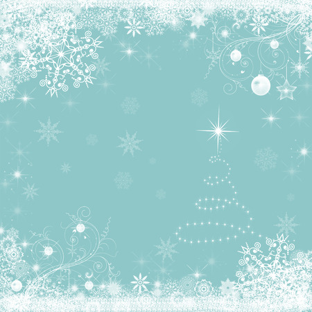 painted background: Christmas holiday  blue background with snowflakes