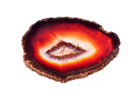 chalcedony: agate with chalcedony geological crystal, polished cut, isolated Archivio Fotografico