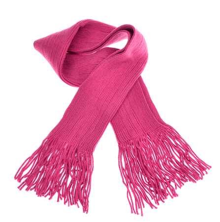 scarf: knitted pink scarf with fringe on white background