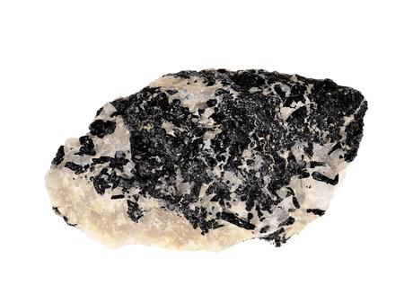 specimen: Black tourmaline crystal specimen isolated on white.