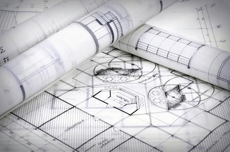 plans architecturaux du vieux papier, papier calque
