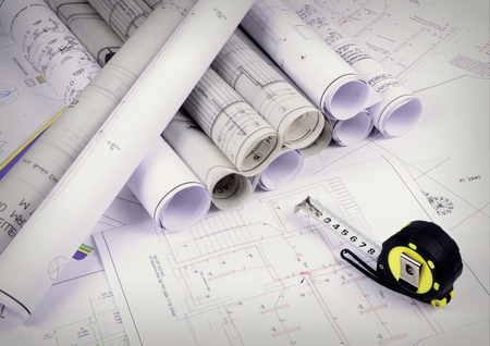 construction industry: Architectural plans of the old paper ,tracing paper