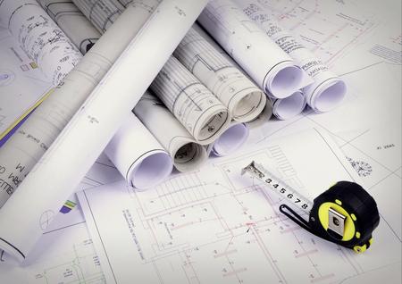 Architecturale plannen van het oud papier, kalkpapier