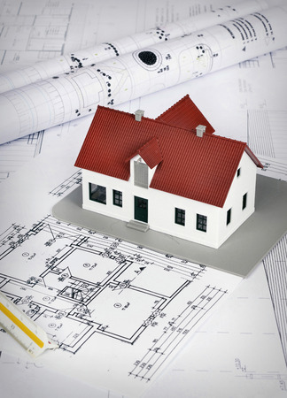 Modell Haus Auf Einem Bauplan Für Den Hausbau Photo