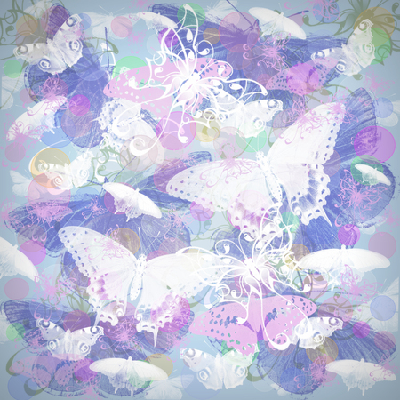 butterflies flying: Seamless pattern with colorful butterflies flying Stock Photo