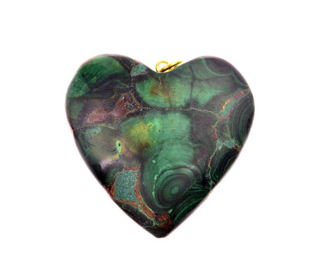 malachite: Polished malachite in the form of heart  isolated on a white background