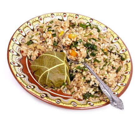 hojas vid: vid deja rellena de arroz