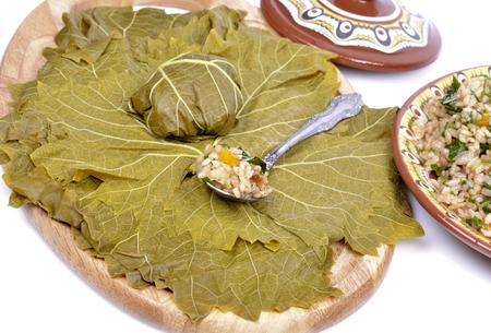hojas parra: vid deja rellena de arroz