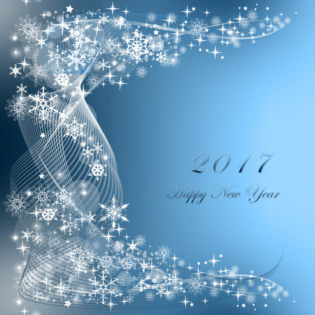 snowflakes and stars descending on blue background, Happy New Year 2017 Stock Photo