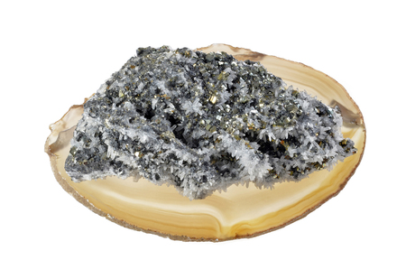 pyrite and crystals mineral  on round agate,isolated white background
