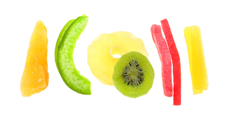 mix of dried tropical fruit isolated on the white background