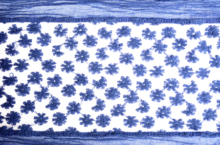 sateen: Woman blue stylish scarf  on white background.
