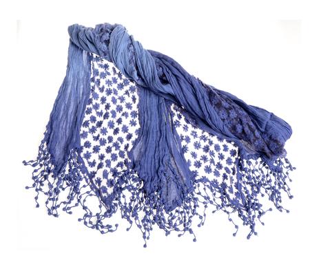 Woman blue stylish scarf isolated on white background.