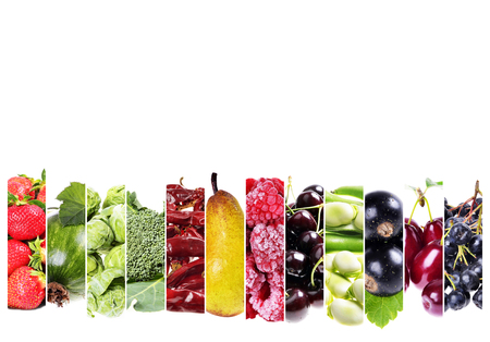 Collage from fresh berries and vegetables on a white background