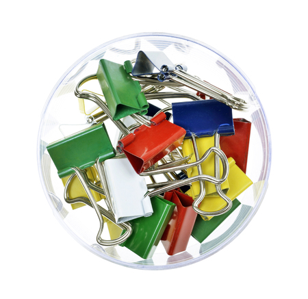 pile of colorful  clips on isolated white background