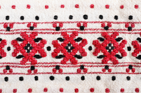 embroidery with woolen threads Stock Photo