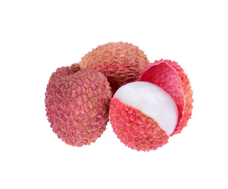 Fresh lychees (Litchi chinensis) isolated on white  Stock Photo