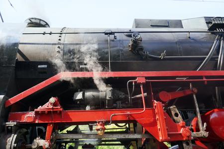 Steam locomotive detail on rails