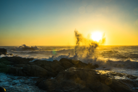 Beautiful sunrise and fantastic waves of Dongmyeong Port, Sokcho, Gangwon-do 写真素材