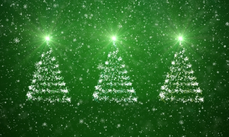 Christmas trees with falling snowflakes and stars  photo