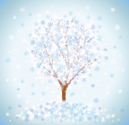 snowcovered: Winter snow-covered tree with snowflakes Illustration