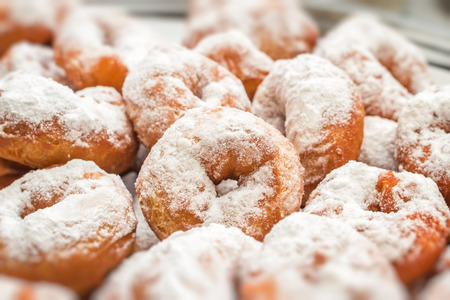 powdered: Donuts with powdered sugar