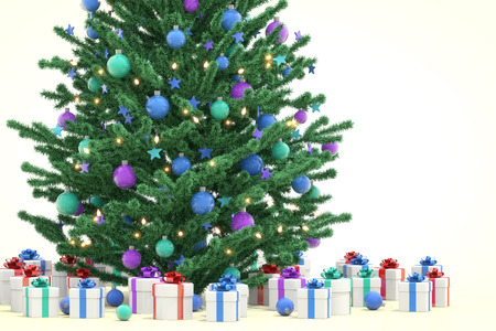 christmas tree illustration: Christmas tree with gifts, 3D illustration
