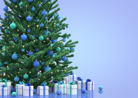 christmas gifts: Christmas tree with gifts, 3D illustration
